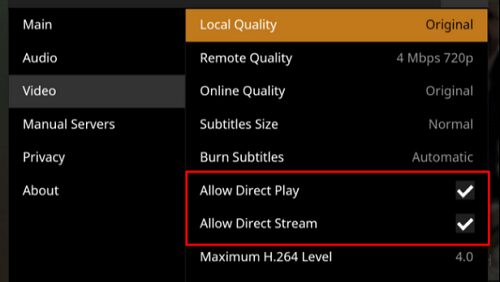 Best settings for Plex direct play