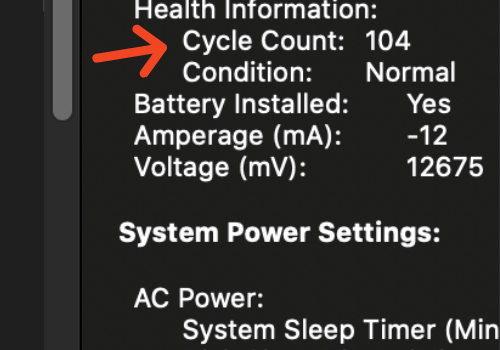 How to find my MacBook Pro life cycle count