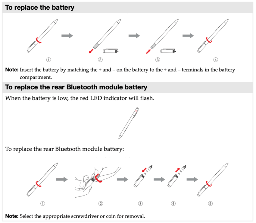 How to replace battery of Lenovo active pen 1 and 2