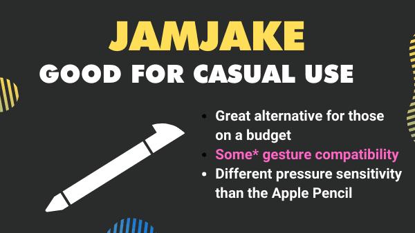 JAMJAKE_ Best budget stylus pen for Procreate on Apple iPad Air 2, 3 & iPad Pro