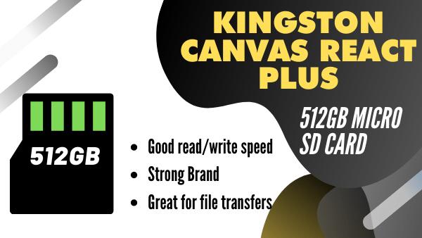 Kingston Canvas React Plus_ Best Premium memory card for 4k Video recording (512GB)