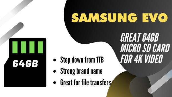 Samsung Evo_ Best 64GB SD Card for 4k video
