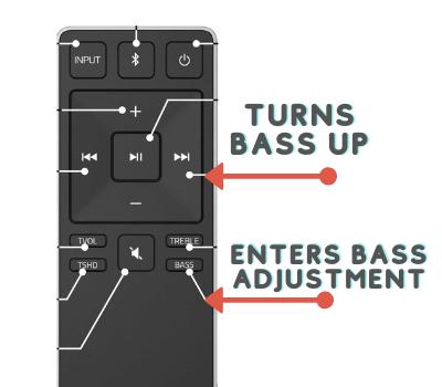 VIZIO soundbar subwoofer remote turn off mute using the bass