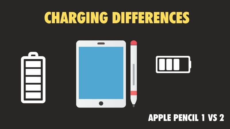 charging differences between Apple Pencil 1 vs 2