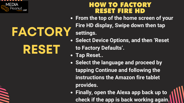 how to factory reset fire hd when amazon Alexa voice isn't working